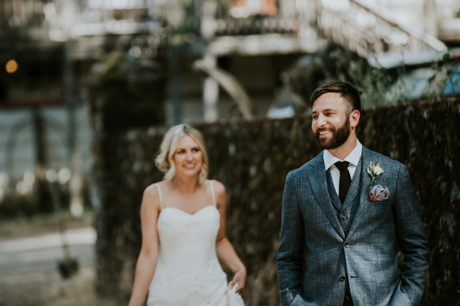 first look with bride and groom at sonoma county wedding