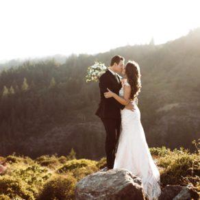 mountain top bride and groom at deer park villa wedding, fairfax california